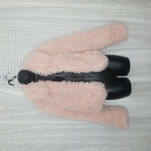 Torrid Blush Pink Faux Shearling Crop Teddy Jacket